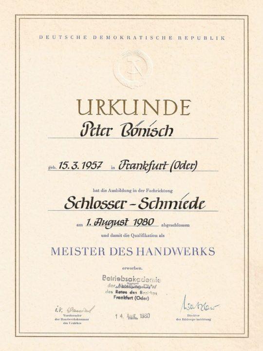 StahlbauSchlosserei Urkunde Schmiede